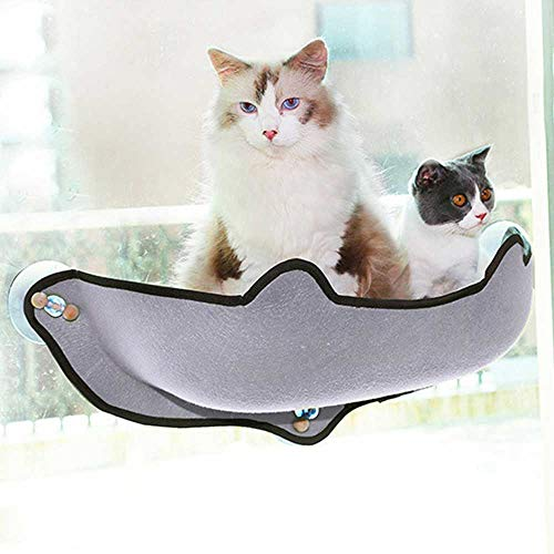 KHTO Cat Hammock Bed Mount Window Pod Lounger Suction Cups Warm Bed for Pet Cat Rest House Sun Wall Bed Soft Ferret Cage (Grey)