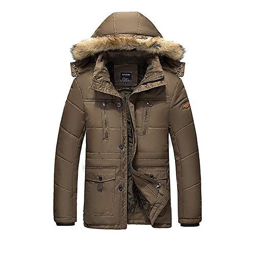 YZY donsjack voor heren, van katoen, winterdikke capuchon met grote bontkraag en winddichte warme mantel in de open lucht