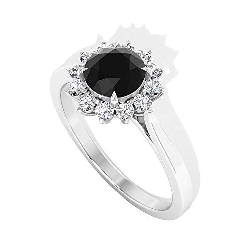 Anillo de compromiso con halo de diamante blanco y negro de 1,10 quilates, solitario de piedra negra, anillo de aniversario de boda, certificado IGI, anillos a juego, 14K Oro amarillo, Size:EU 48