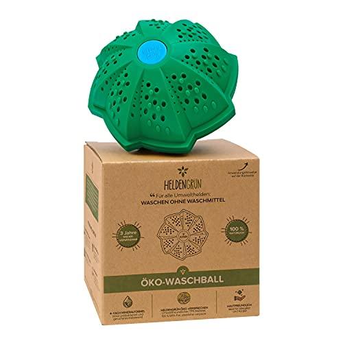 Heldengrün® Öko Waschball [4-FACH WASCHFORMEL] - Waschen ohne Waschmittel - TÜV SÜD geprüft - Bio Waschmittel für Helden, Allergiker und Kinder - Nachhaltige Produkte: Waschkugel für Waschmaschine