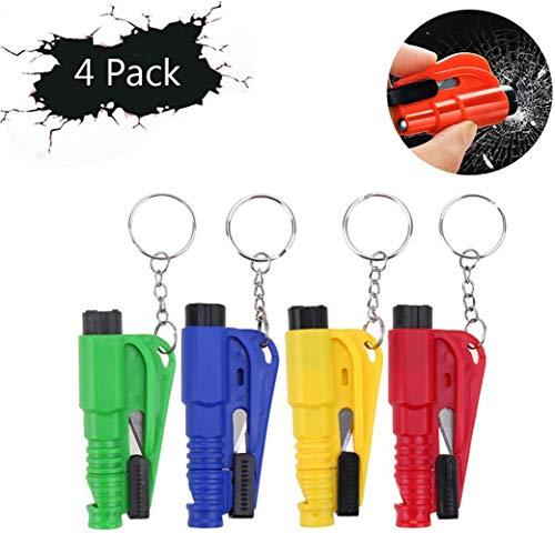 Crazy Ling 3 in 1 Auto-Überlebens-Werkzeug, Notrettungshammer-Glasbrecher-Werkzeug, Notrettungshammer mit Sicherheitsgurt-Schneider-Fenster-Glasbrecher (Multicolor 4Pcs)