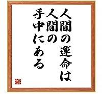 書道色紙/サルトルの名言『人間の運命は人間の手中にある』/薄茶額付/受注後直筆(千言堂)
