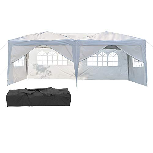 K KYMYCRAFT 10x20 Ft Pop Up Folding Canopy Tent, Outdoor Wedding Party Tent Waterproof Party Tent with Removable Sidewalls & Windows and Carry Bag (White-4 Windows)