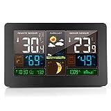 ABEDOE Estación Meteorológica Digital con Sensor Interior y Exterior, Inalámbrico Temperatura Humedad Pronóstico del Tiempo