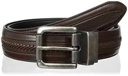 Columbia Men's Reversible Leather Belt - Casual for Men's Jeans with Double Sided Strap, Brown/Black Laced, 44