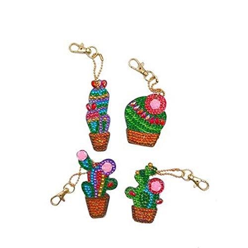 Jestang - Juego de llaveros de diamante para adultos, niños, accesorios completos de bolsa de taladro, colgante, mochila de cactus 4 piezas