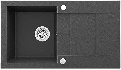 Bergstroom graniet composietspoelbak 750 x 430 cm keuken inbouw editie gootsteen + sifon + drehexcenter zwart