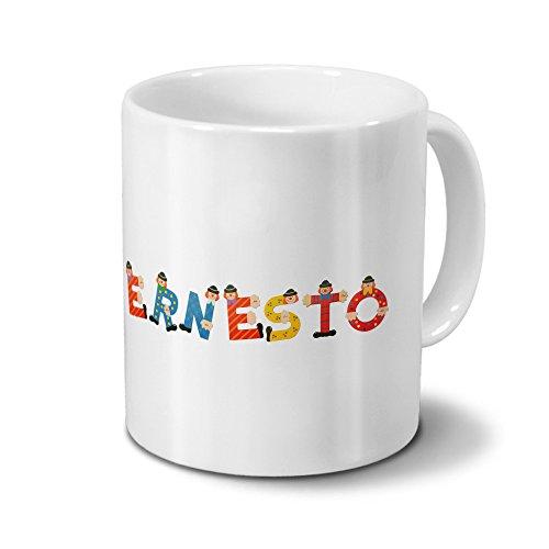printplanet Tasse mit Namen Ernesto - Motiv Holzbuchstaben - Namenstasse, Kaffeebecher, Mug, Becher, Kaffeetasse - Farbe Weiß