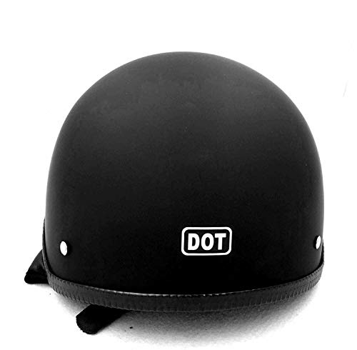 HTTMT MT506-001-M DOT Certified Matte Black Flat Black Compatible with Harley Davidson Half Face Helmet Chopper Cruiser Biker Size M