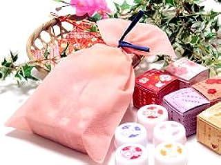 椿堂 練り香水5種ギフトセット (沈丁花・薔薇・柚子・蜜柑・芙蓉) 色が選べる無料ラッピング付き (ピンク)