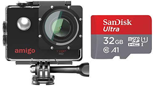 Amigo AC-11 HD Sports Action Camera with 12MP High Resolution Lens   720p HD Image with Wide Angle Lens and Waterproof Upto 30 Meters + SanDisk 32GB Class 10 Micro SDHC Memory Card with Adapter