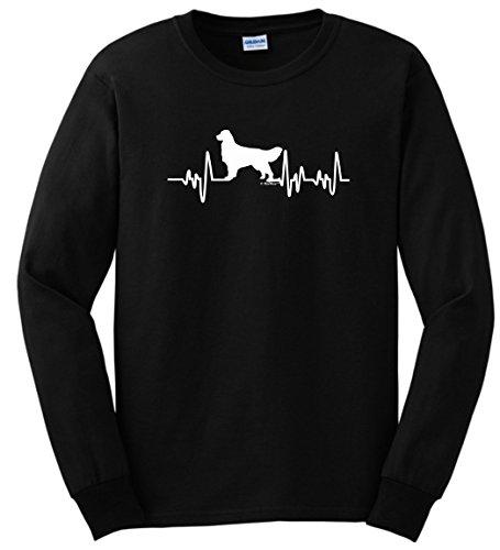 Golden Retriever Lover Gifts Golden Retriever Gifts Dog Lover Heartbeat Long Sleeve T-Shirt Small Black