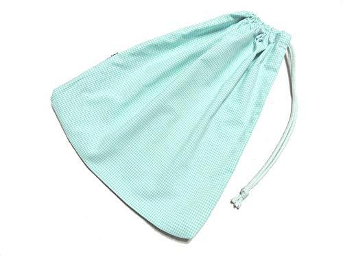cottonNINA 巾着袋 片絞りタイプ 横31×縦36cmサイズ KB3136 (ミントグリーンギンガム)