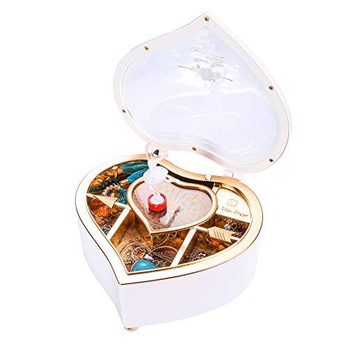 Supreme glory Märchen Schmuckkästchen mit Spieluhr und Prinzessinnen für Kinder Schmuckschatulle für Ohrringe Armbänder Halskette Weiß