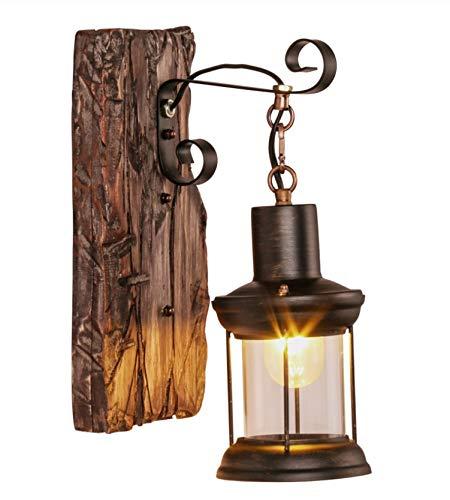 Retro LED Wandlamp Outdoor Restaurant Cafe Bar Wandkandelaar Vintage Industriële Loft Stijl Smeedijzeren Houten Wandlamp Tuinverlichting
