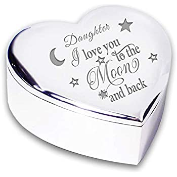 Daughter I Love You To The Moon Back Silver Finish Trinket Box Gift Presents Ideas For My Birthday Christmas Xmas Wedding Present Gifts From Mum And Dad Amazon Co Uk Kitchen Home