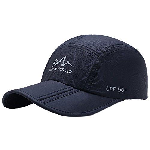 Aesy Gorras de Béisbol, Malla Gorra Plegable Quitasol Rápido Seco Respirable Impermeable Ajustable Sombreros de Sol Al Aire Libre, para Mujeres Hombres