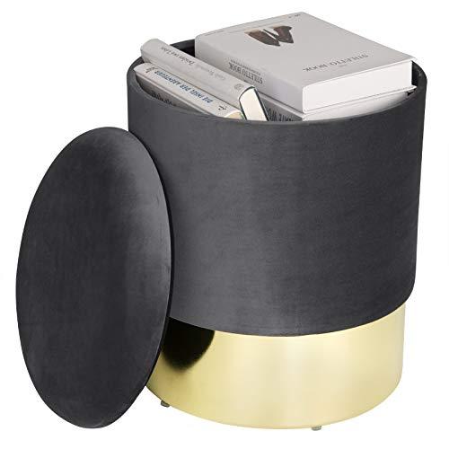 eSituro SOM0083 Samthocker Sitzhocker mit Stauraum, Eleganter Polsterhocker Sofa Couch Hocker, Hocker für Schminktisch Modern Design, Dunkelgrau