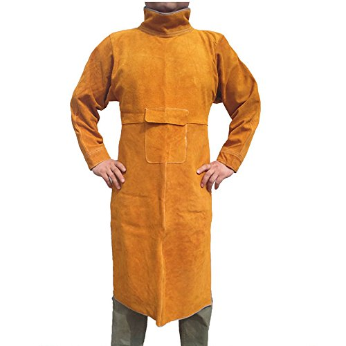 NUZAMAS Welding Apron Anti-flame Cowhide Long Coat Protective Clothing Apparel Suit Welder Durable Leather Extra Large 155cm long 60cm wide