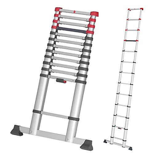 Hailo T80 FlexLine Alu Teleskopleiter | 13 Sprossen belastbar bis 150 kg | bis 3,8 m Leiterhöhe einstellbar | einzelne Sprossen ausfahrbar | farbige Verriegelungsanzeige | Quertraverse| silber