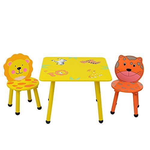 Desk Sets Juego Escritorio Infantil Conjunto Infantil de Mesa y Sillas • Mesa y Silla • Amarillo con Patrón de Animales del Bosque