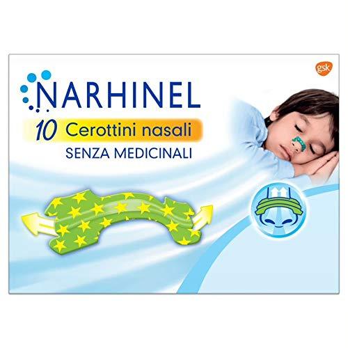 NARHINEL Cerottini Nasali per Bambini, Rimedio Senza Medicinali, in Caso di Congestione Nasale Causata da Raffreddore e Allergie, in Confezione da 10 Pezzi
