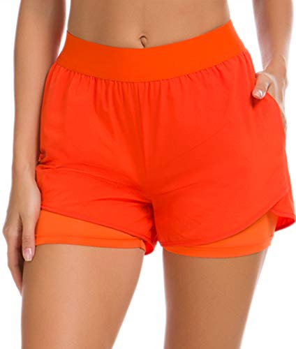 Custer's Night Women's Running Short Workout Athletic Jogging Shorts 2-in-1 Orange S