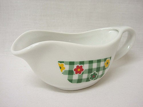 Salsera Salsa con ASA 110ML Porcelana Flor Vichy Verde