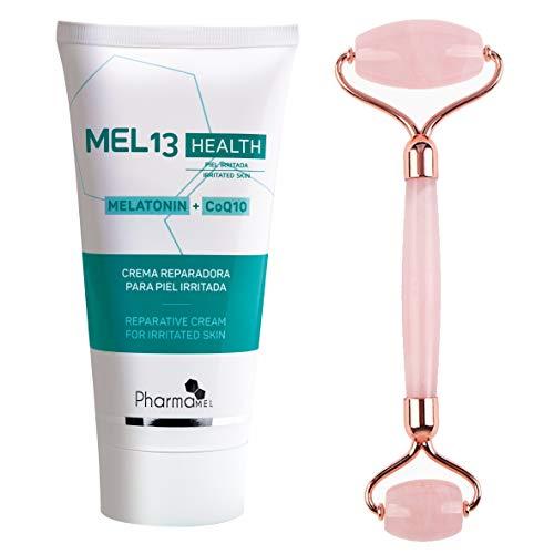 Pharmamel MEL 13 Health Crema reparadora para Piel Irritada con Melatonina y CoQ10 MEL13 - 150 ml y Rodillo de Masajeador Facial Antiedad Antienvejecimiento
