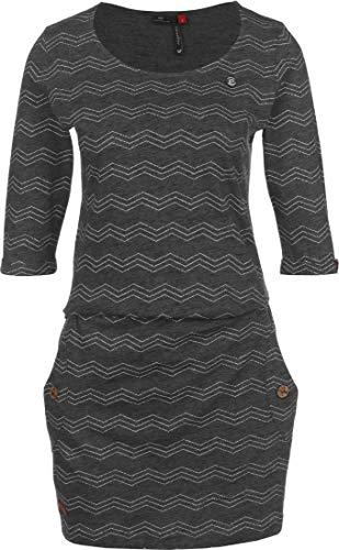 Ragwear Tanya Zig ZAG Damen,Streetwear,Kleid,Jerseykleid,Sommerkleid,3/4 Arm,vegan,Rundhalsausschnitt,Taillengürtel,Black,L