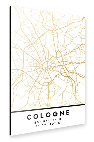 artboxONE Alu-Print 150x100 cm Cologne Germany Street MAP Art von Künstler Emiliano Deificus