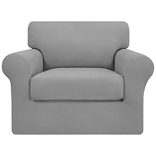 Easy-Going 2 Pieces Stretch Couch Cover Sofa Cover for Dogs Washable Sofa Slipcover for Separate Cushion Couch Spandex Jacquard Fabric Elastic Furniture Protector for Pets,Kids(Light Gray, Chair)