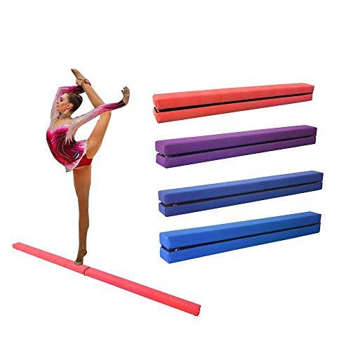 Dripex 210cm Schwebebalken Balance Beam Zusammenfaltbar Gymnastik Kinder Training Beam für Home Gym (Rosa)