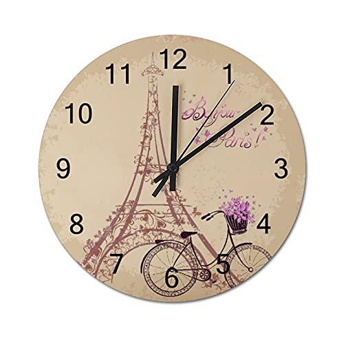 Reloj de Pared Vintage,Bonjour Paris Torre Eiffel y b,Relojes de Pared de Madera silenciosos Que no Hacen tictac,Reloj de Pared rústico de Granja para la decoración del Dormitorio de la Sala de Estar