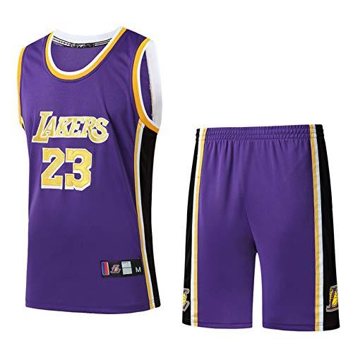 Jerseys de Baloncesto, Los Ángeles Lakers # 23 Lebron James Jerseys Fresco Tela Transpirable Swing Swing sin Mangas Top Ropa y Pantalones Cortos Purple-S