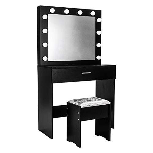 Tianbi Tocador moderno con cajones para dormitorio, maquillaje, cuidado de la piel, con lámparas LED y taburetes de Hollywood, escritorio de maquillaje con taburete para dormitorio
