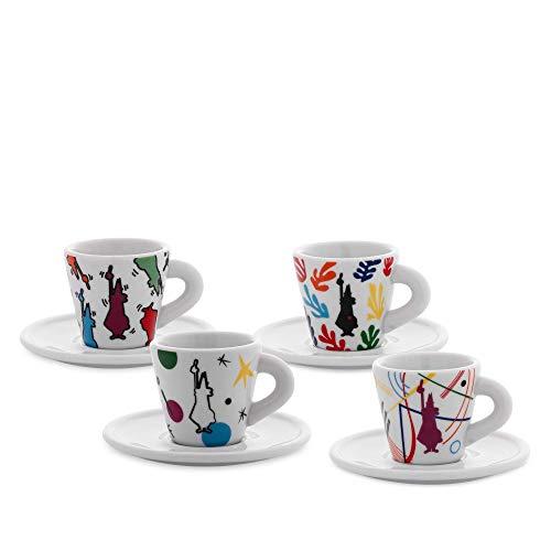Bialetti Y0TZ034 Set 4 Tazzine Espresso Arte (con Piattini), Porcellana