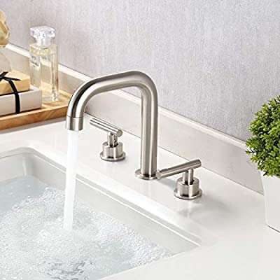 KES Matte Black 8-Inch Widespread Bathroom Faucet 3 Hole Modern Vanity Sink Faucet 2 Handle Lead Free Brass with Supply Hoses, L4317LF-BK