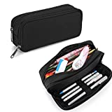 Pencil Case for School Students Girls Boys Large Capacity Adult Pen Maker Pencil Pouch Office Organizer Simple Durable Multifunctional Pencil Bag Black