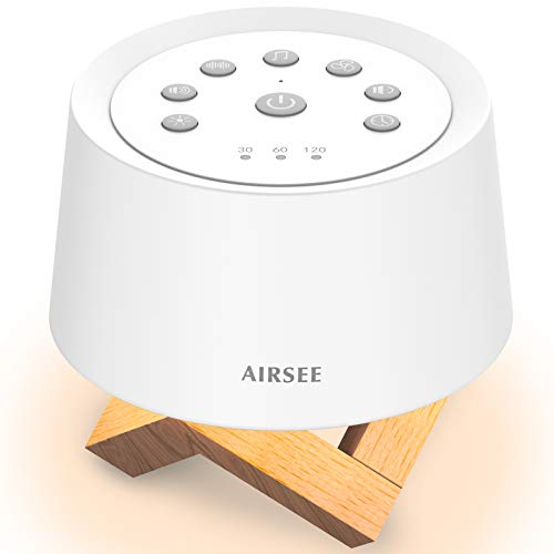 AIRSEE Sound Machine White Noise Machine with Baby Night Light Built-in 31 Soothing Sounds with Timer & Memory Features for Better Sleep, Portable Noise Machine for Baby, Adults, Elders, Home, Travel