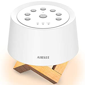 AIRSEE Sound Machine, 2-in-1 Night Light & White Noise Machine with Timer, Built-in 31 Soothing Sounds for Better Sleep, Portable Sleep Sound Machine for Baby, Adults, Home and Travel