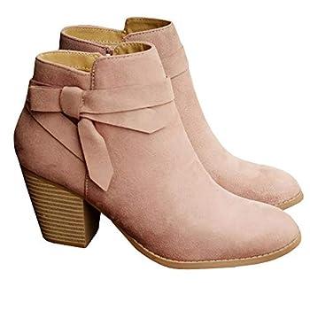 PiePieBuy Women s Ankle Boots Tie Knot Closed Toe Side Zipper Stacked Heel Booties Shoes