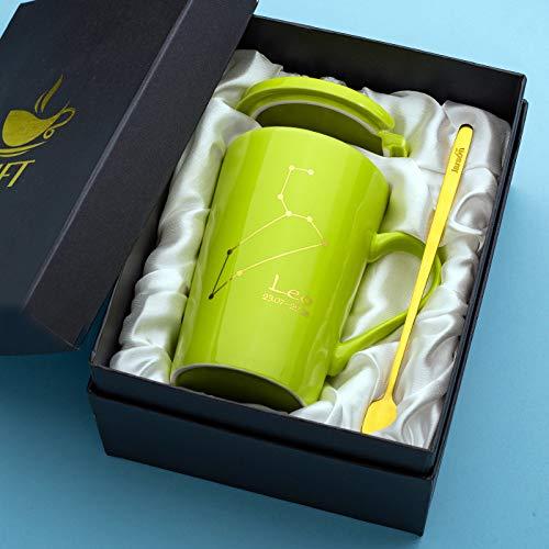 HRDZ Marca Creativa Taza de Agua Tendencia de la Personalidad Taza de cerámica con Tapa Cuchara Hombre y Mujer Pareja Taza de café en casa