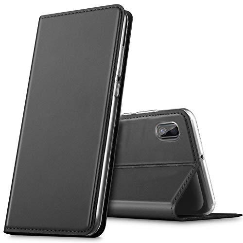 Verco Handyhülle für Samsung A10, Premium Handy Flip Cover für Samsung Galaxy A10 Hülle [integr. Magnet] Book Hülle PU Leder Tasche, Schwarz