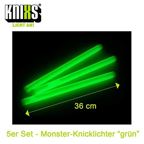 KNIXS 5er Set - Premium Monster-Knicklichter / Mega-Knicklicht 36cm lang - Extreme Leuchtkraft und Lange Leuchtdauer - Grün Leuchtend - für Party, Festival und Outdoor