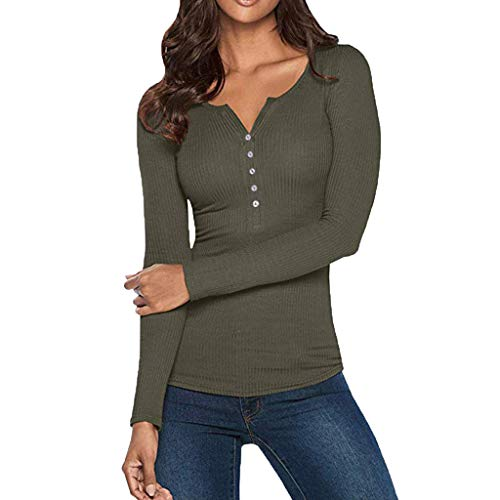 JiaMeng Moda Casual para Mujer Sexy con Cuello Camisas Henley con Cuello en V Manga Larga Botones sólidos Tops básicos Camisetas Camisa Jersey Blusa Tops