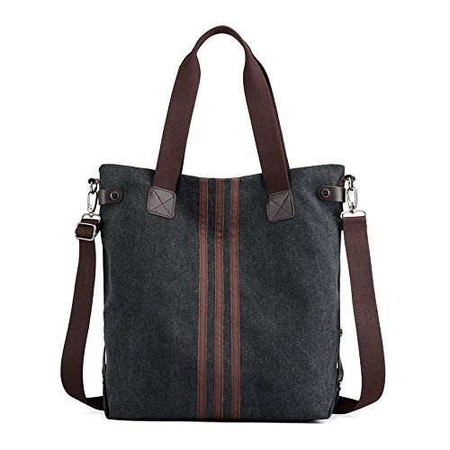 Borsa in tela, borsa a tracolla, borsa, all'aperto, a righe, nero, C0218