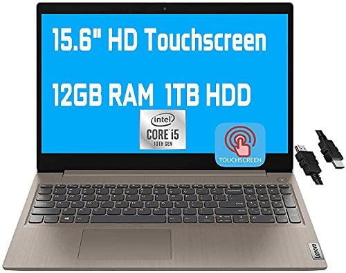 "2021 Flagship Lenovo Ideapad 3 Laptop Computer 15.6"" HD Touchscreen Display Intel Quad-Core i5-10210U(Beats i7-8550U) 12GB RAM 1TB HDD Webcam WiFi HDMI Dolby Win 10 + iCarp HDMI Cable"