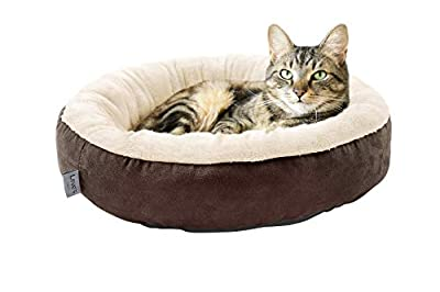 Love's cabin Round Donut Cat and Dog Cushion Bed, 20in Pet Bed for Cats or Small Dogs, Anti-Slip & Water-Resistant Bottom, Super Soft Durable Fabric Pet beds, Washable Luxury Cat & Dog Bed Brown