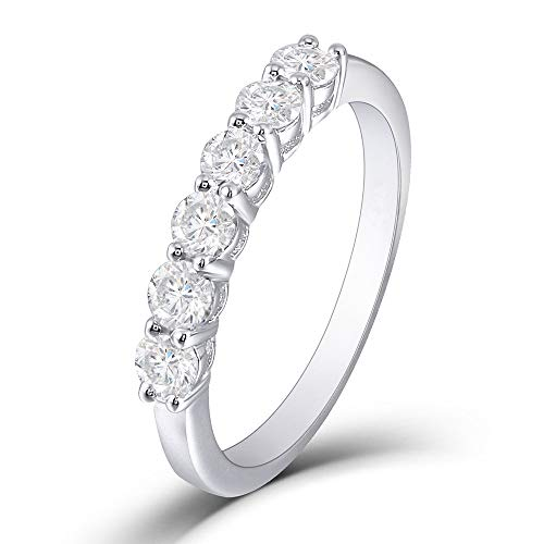 DOVEGGS 0.6 CTW Moissanite G-H-I Color Lab Created Diamond Half Eternity Wedding Band Platinum Plated Silver for Women (5)